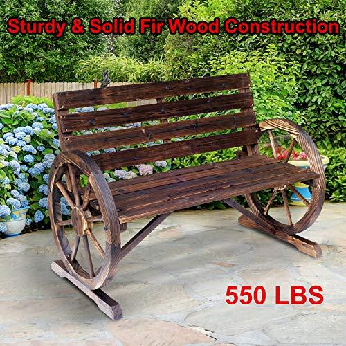 550lbs Wagon Wheel Bench Garden Chair Loveseat Wooden Accent Outdoor Garden (Sturdy Solid fir Wood Construction)