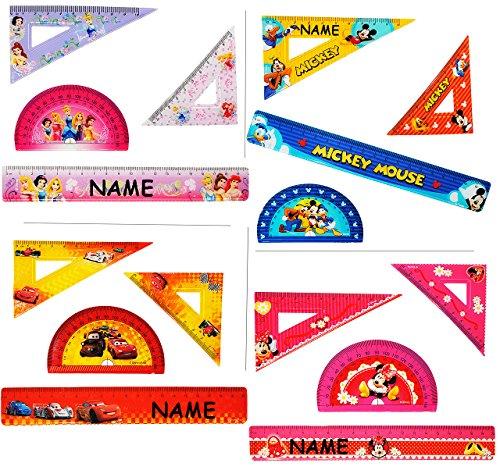 alles-meine.de GmbH 4 TLG. Set - Lineal & Geodreieck & Winkellineal -  Mickey Mouse / Cars  - incl. Name - Kinder - Schreibset / Geometrie für die Schule - Vorschule / Kinderli..