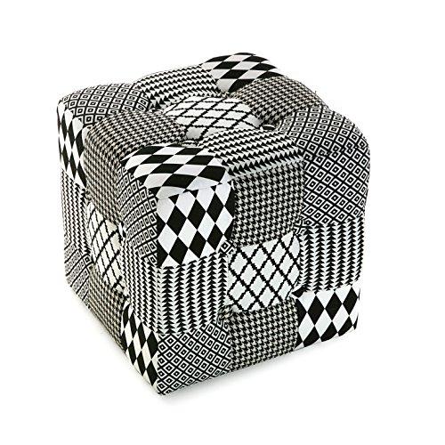 Versa 19501302 Sgabello cubo puff sedia W&B,35x35x35, Bianco Nero Grigio