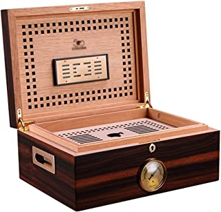 Cigar Humidors Cigar Incubator Cedar Wood Double Cigar Box Large Capacity humidor Hollow Tray (Color : Brown, Size : 28 * 38 * 16cm)