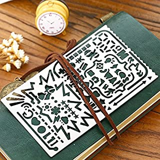Creative Hollow Metal Ruler Portable All-in-One Stainless Steel 60 Apertures Stencil Drawing Template Number Alphabet Icon Tool Diy Photo Album Accessories Ruler by Fascola