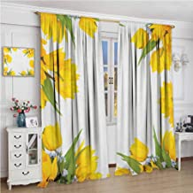 Yellow Flower Room Darkened Curtain Abstract Frame Yellow Tulip and Blue Forget Me Knot Blooms Bouquets Insulated Room Bedroom Darkened Curtains W84 x L108 Inch Mustard Fern Green