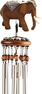 Lucky Talisman Wind Chimes Elephant Feng Shui Teak Wood Carving Handmade Aluminum Metal Tubes Size Medium 3 x 21.6 Gift and Souvenir of Thailand for Your Terrace, Patio, Garden, Outdoor Home Decor.