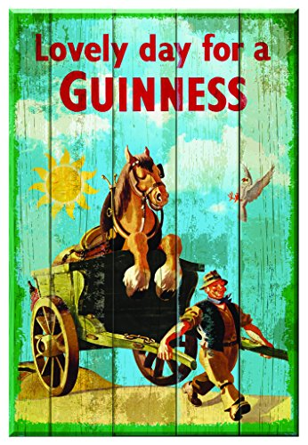 Guinness Nostalgische Houten Teken - Paard & Winkelwagen Mooie Dag Voor Een Guinness