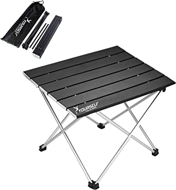 SYOURSELF Folding Camping Table, Portable Aluminum Camp Table Desk Lightweight Durable Compact Roll Up Picnic Tables for Indo