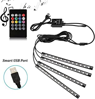 Adecorty Car LED Strip Light, 4pcs 48 LED Multicolor Music Car Interior Atmosphere Lights, USB LED Strip for Car TV Home with Sound Active Function, Wireless Remote Control and Smart USB Port