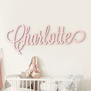"""Custom Personalized Wooden Name Sign 12-55"""" WIDE - CHARLOTTE Font Letters Baby Name Plaque PAINTED nursery name nursery de..."""