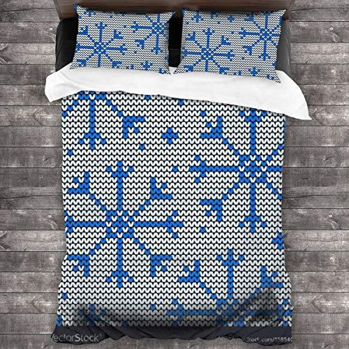 Qing_II Juego de ropa de cama de 3 piezas, sin costuras, diseño de invierno con copos de nieve, juego de funda de edredón de microfibra suave, 1 funda de edredón (86 x 70 pulgadas) y 2 fundas de almohada (20 x 30 pulgadas)