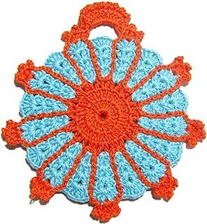 Agarradera de ganchillo naranja y turquesa - Tamaño: 14.5 cm x 16.5 cm H - Handmade - ITALY