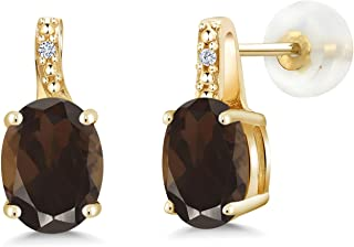 2.41 Ct Oval Brown Smoky Quartz White Diamond 10K Yellow Gold Earrings