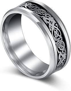 New Silver Celtic Dragon Titanium Stainless Steel Men's Wedding Band Rings
