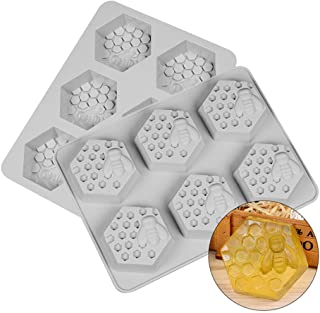 Bee Honeycomb Silicone Molds for Soap Making 6 Cavity Cake Candle Muffins Jelly Ice Tube Tray Baking Mold for Wedding Christmas Decoration Set of 2