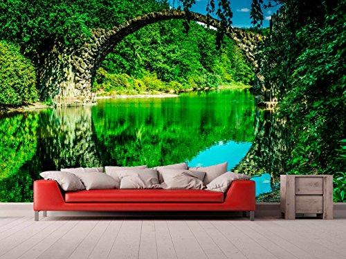 Fotomural Vinilo Pared Puente Piedra Arco Medio Punto | Fotomural para Paredes | Mural | Vinilo Decorativo | Varias Medidas 200 x 150 cm | Decoración comedores, Salones, Habitaciones.