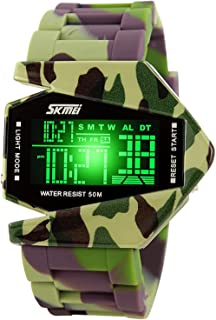 Gosasa Men Sports Military Watches Digital Airplane Shaped LED Colorful Light Watches