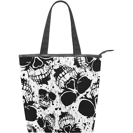 Jeansame Canvas Tote Bag Damen Shopper Top Griff Taschen Schultertaschen mit Reißverschluss Totenkopf Halloween Schwarz Weiß Herbst Herbst