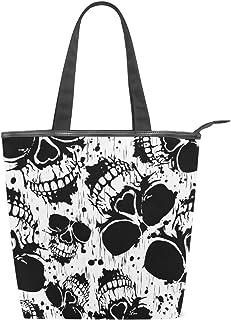 Jeansame Canvas Tote Bag Damen Shopper Top Griff Taschen Schultertaschen mit Reißverschluss Totenkopf Halloween Schwarz We...