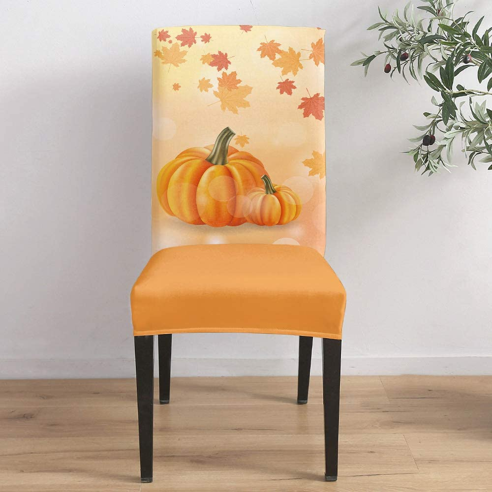 Dining Room Stretch Outlet sale feature Chair Cover Pumpkin Slipcover Maple Max 80% OFF Leaves A