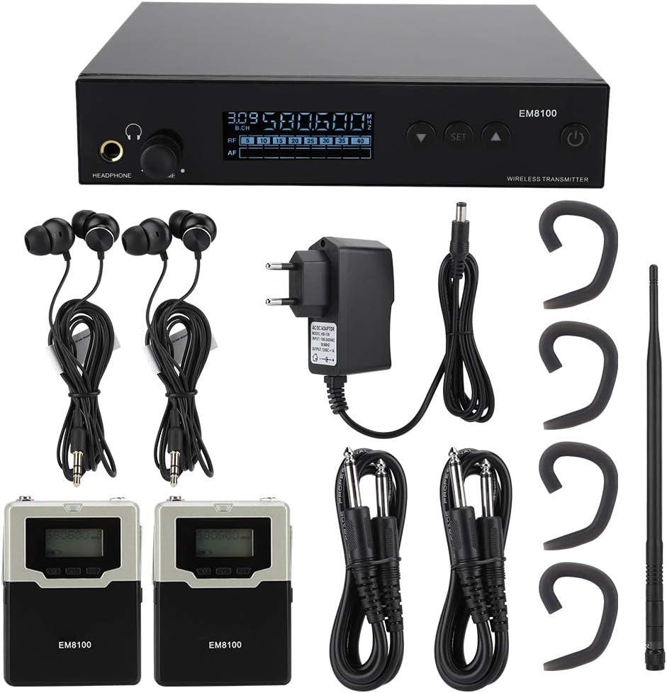 Sistema de Monitor inalámbrico en el oído con 2 receptores Monitoreo en el Escenario para el Rendimiento del Escenario y la transmisión de Audio, Enchufe de la UE(572 MHz ~ 603.5Mhz)