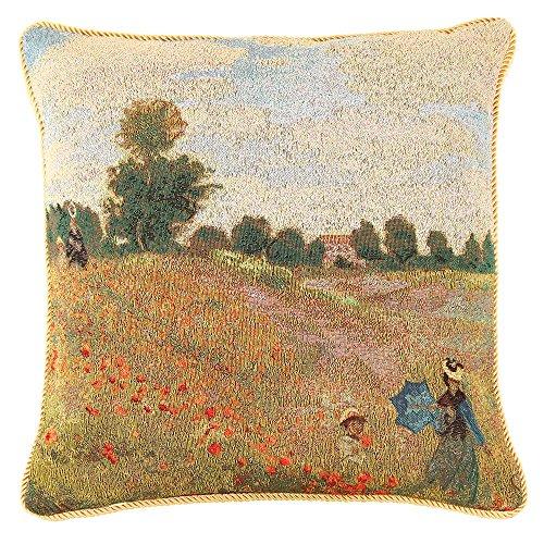 Art Décoration Fleur Taie d'Oreiller 45x45cm de Signare - Tapisserie Pour Canapé Lit Chaise Salon - Monet/Poppy Field CCOV-ART-MONET-1