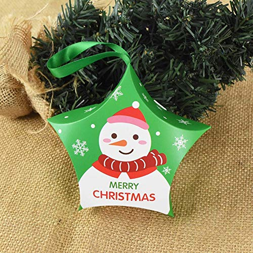 5pcs Star Santa Claus Snowman Xmas Tree Candy Box Wedding Favor Box DIY Paper Gift Boxes Christmas Decor for Home Party Supplies
