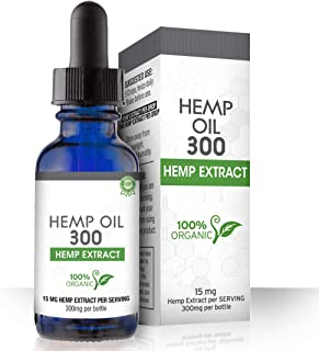 Hemp Oil for Pain, Anxiety & Stress Relief - 300mg - 100% Organic Hemp Extract Drops - Natural Anti-Inflammatory, Joint Su...