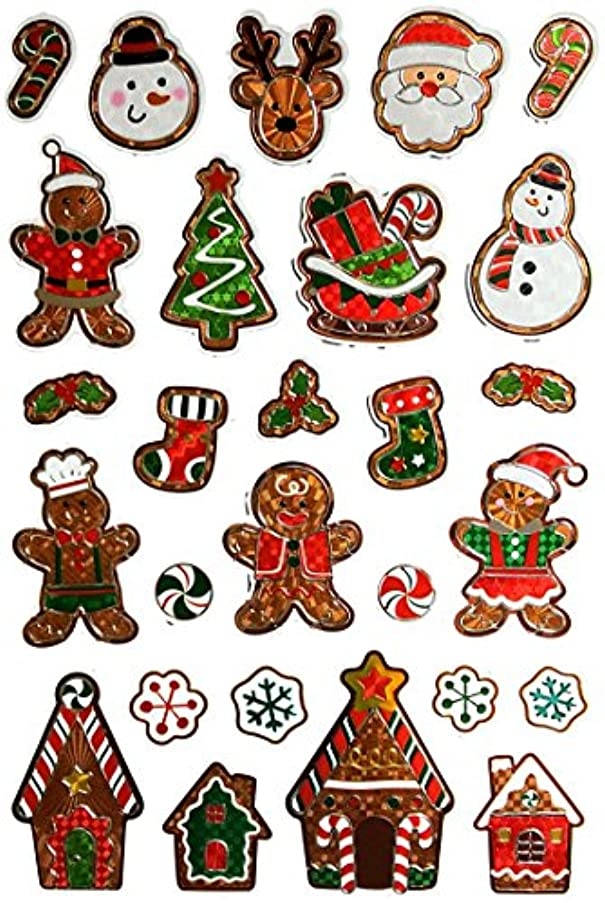 Christmas Holiday Die-Cut Stickers, Embossed with Foiling (Fun with Gingerbread)