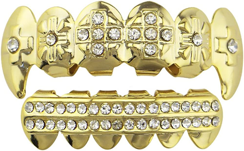 OOCC 18K Gold Plated Manufacturer regenerated product Grillz Vampire Fangs CZ Cross Row Alternative dealer and 2 Top