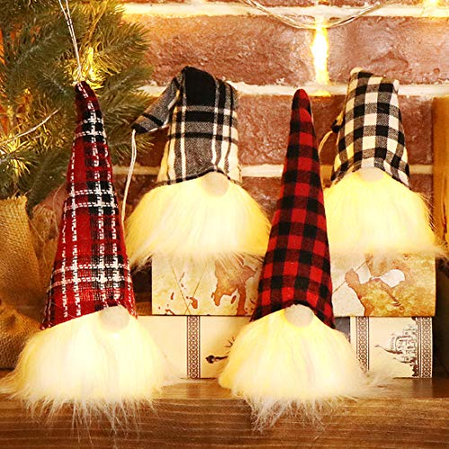 EDLDECCO Christmas Gnome with Light 9 Inches Set of 4 Plaid Buffalo Check Nisse Figurine Plush Swedish Nordic Tomte Scandinavian Elf X'Mas Holiday Party Home Decor Ornaments