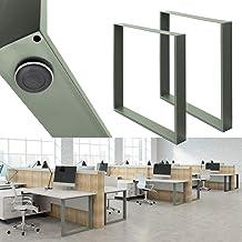 ECD Germany 2x tafellopers 70x72 cm gepoedercoat staal steengrijs vintage industriële look tafelpoten tafelpoten meubelpot...