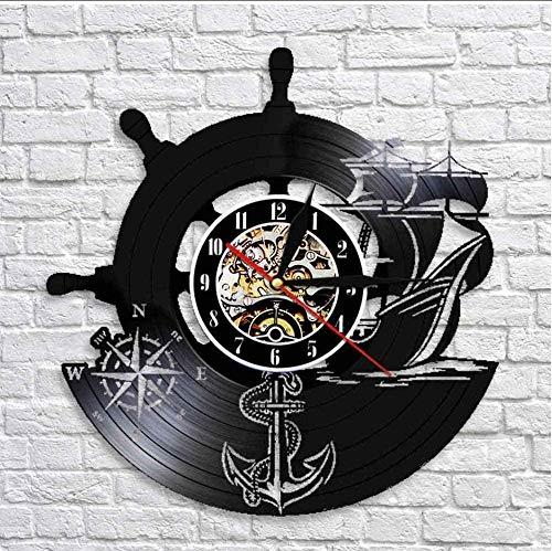 Barco De Ancla Brújula Naval Vintage Decoración De Pared Náutica Arte del Hogar Reloj De Pared Marineros Disco De Vinilo Reloj De Pared Regalos De Navegación Hechos A Mano con Led