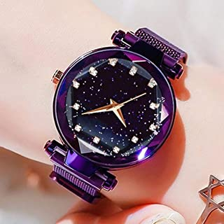 Acnos Black Round Diamond Dial with Latest Generation Purple Magnet Belt Analogue Watch for Women Pack of - 1 (DM-PURPLE14)