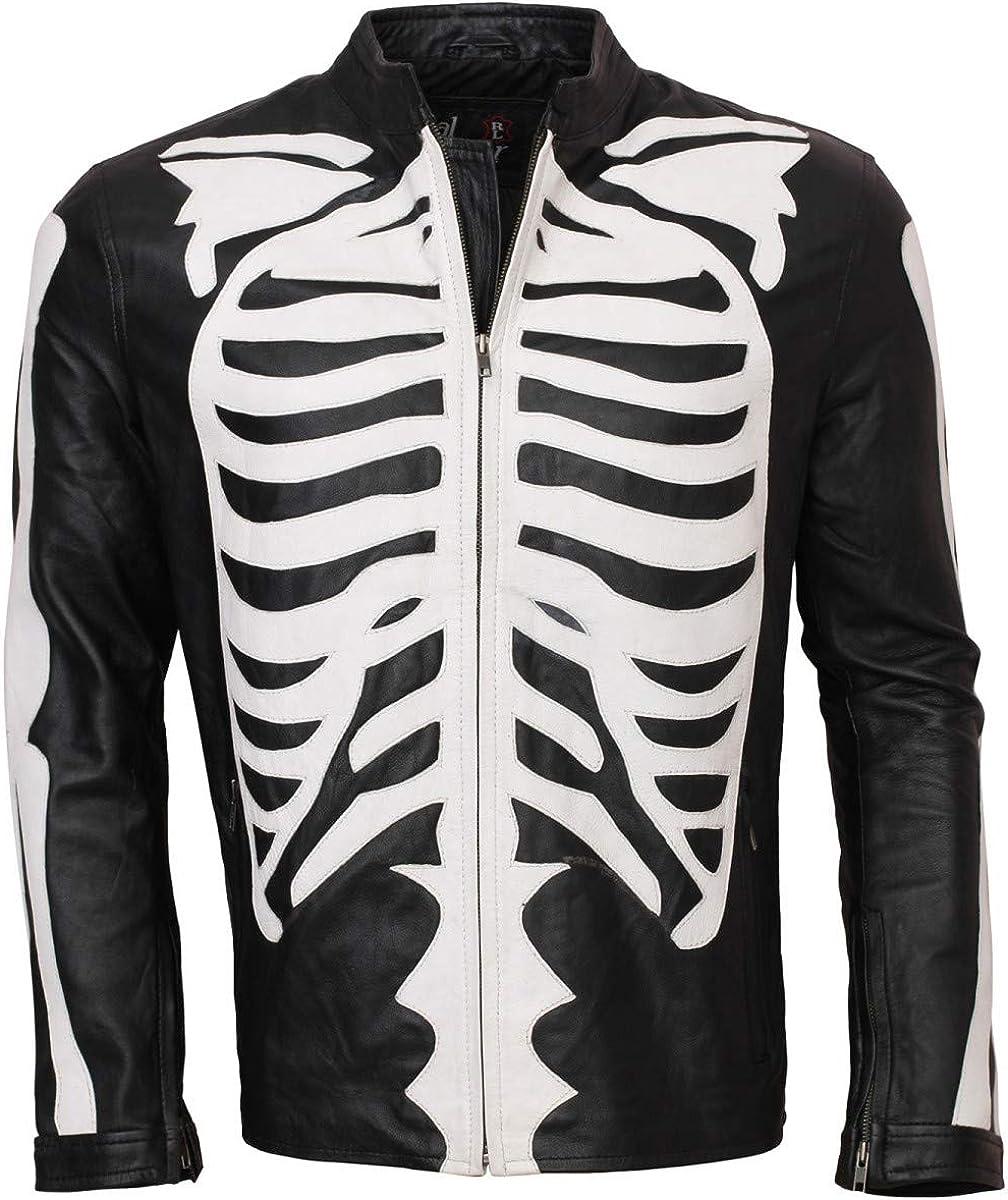 Men's Halloween Fashion 予約販売品 Black Biker Bones Real Skeleton Leather 販売