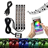 Coche interior atmósfera luces aplicación de control de Bluetooth para iPhone Android, 9 LED RGB luz tira neón decoración kit...