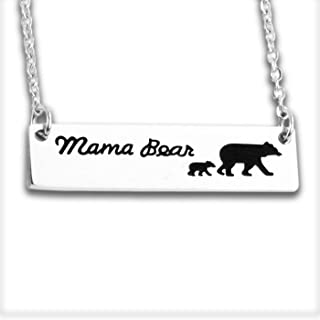 Bear Necklace for Women Moms Bear Necklace Womens Mama Bear Necklace Momma Bear Jewelry Stainless Steel