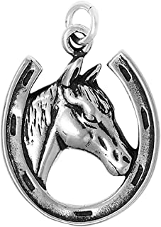 Raposa Elegance Sterling Silver Horse in Horseshoe Charm Necklace (16