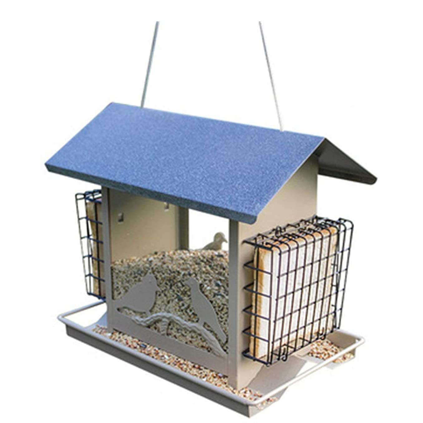 配列理想的には調和鳥の餌箱 大型ダブルトラディショナルメタル耐候性バードフィーダーハウスデザインクリエイティブハンギングデコレーションバードテーブルフリースタンディングイージークリーニング&リフィルアウトドア用バードフィーダー バルコニー、庭 (色 : 青, サ...