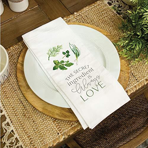 Secret Ingredient Is Love Classic White 28 x 16 Cotton Fabric Dish Tea Towel