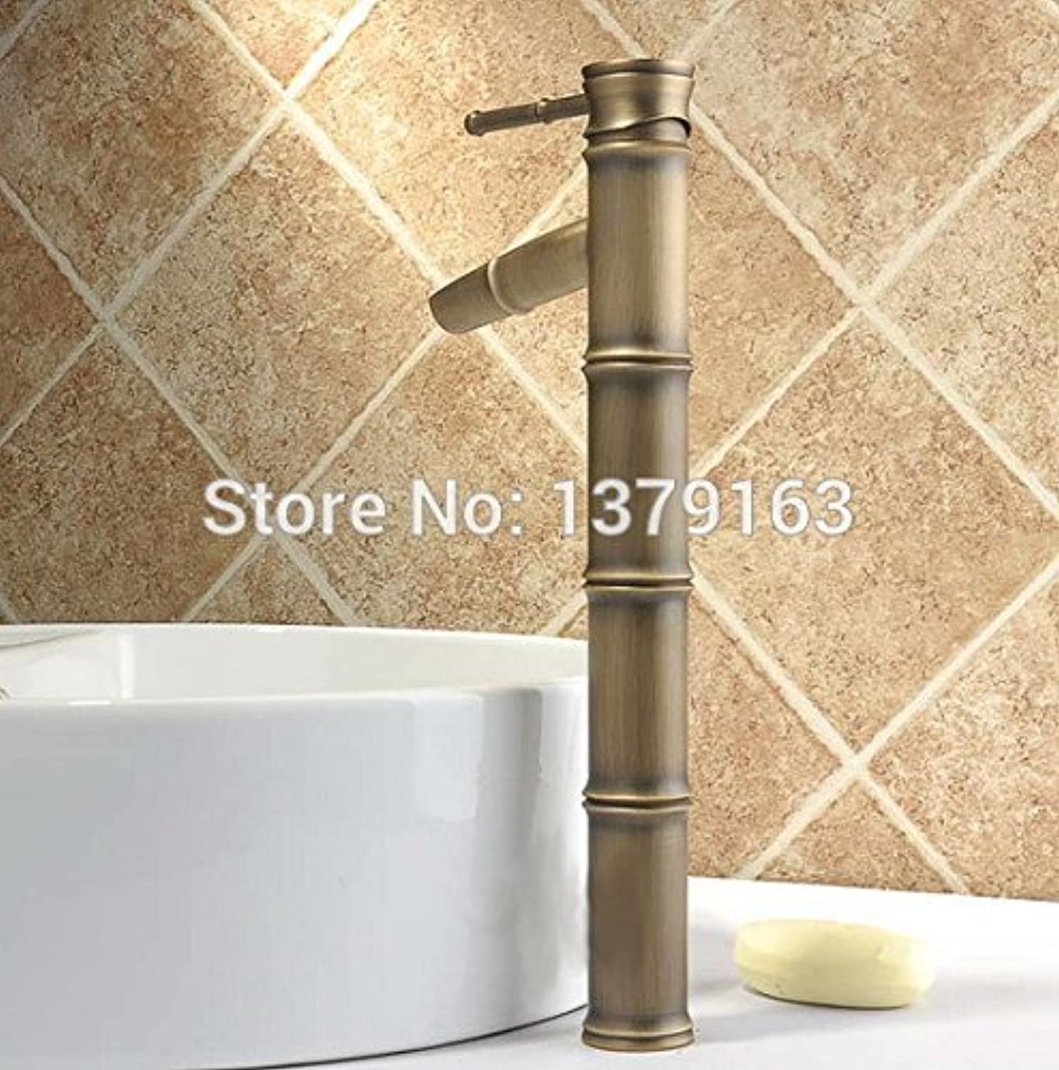 Maifeini The Tall Antique Brass Bamboo Shapes Single Processing Bathroom Basin Series Mixer Tap?,?Brass