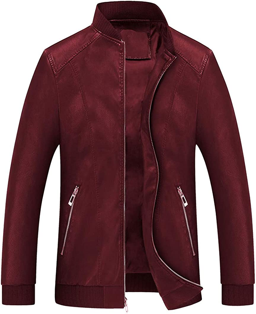 Duyang Mens Tulsa Mall Casual Stand Collar Heavy Leather PU Outwear Ranking TOP17 Weight