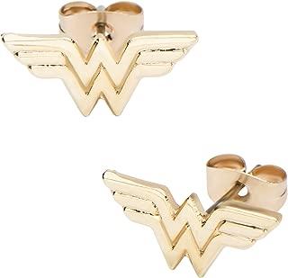 Women's Wonder Woman Gold Plated Stud Earrings, One Size