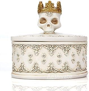 Aestivate Skeleton Head White Skull Jewelry Box Holder Organizer with Crown Halloween Skeleton Decorations Home Skull Decor