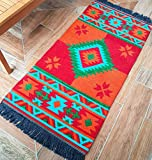 Secret Sea Collection, Mexican Area Rug, Double Sided, Washable (2' x 4', Red,Orange-Turquoise)