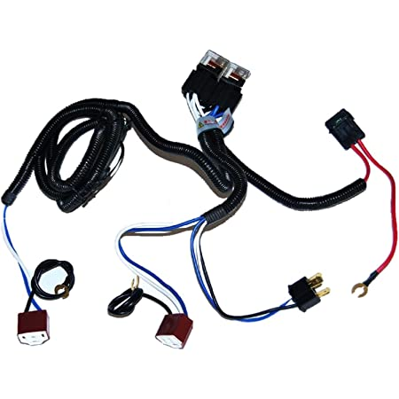 H4 Headlight Ceramic Relay Wiring Harness 2 Headlamp Light Bulbs Socket Plug
