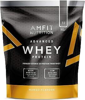 Marca Amazon - Amfit Nutrition Proteína Whey de suero de leche sabor mango, 32 porciones,  990 g
