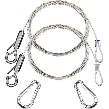 2 piezas de alambre ajustable para colgar cuadros con 2 tubos de crimpado Disco para colgar Cuerda, accesorios para luces/lámparas, espejos, capacidad ...