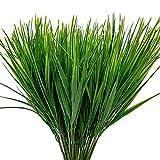 Aisamco 8 Piezas de plástico sintético Trigo Hierba Plantas Artificiales al Aire Libre Falsos arbustos de plástico Verde para Exterior Jardín Interior Oficina Oficina Veranda Decoración de la Boda