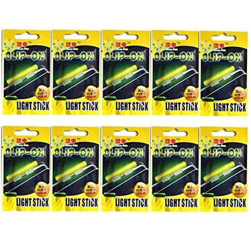 QualyQualy Glow Sticks de Pesca - Starlite de Pesca 10 Paquetes - Luces de Aviso en Cañas Pesca, Luminoso Luz Stick Pare Cañas Pesca, Glow Sticks Pare Cañas Pesca (10 Paquetes XL: 3.3-3.7mm)