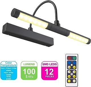 HONWELL-Luz LED Inalámbrica a Batería con Control Remoto, Cabezal de Luz Giratorio de 13 Pulgadas con 3 Modos de Iluminación, Regulable Marco Luces Lámpara de Pared para Pintar,Espejo , Color Negro