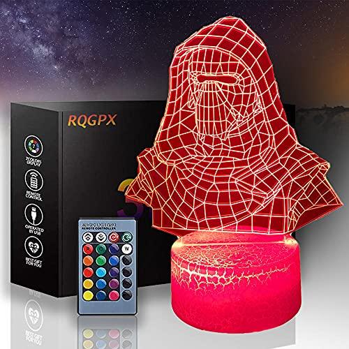 Lámpara de ilusión LED 3D Star Wars Night Light Darth Vader 16 colores cambiando con control remoto, regalo de cumpleaños para niños y niñas