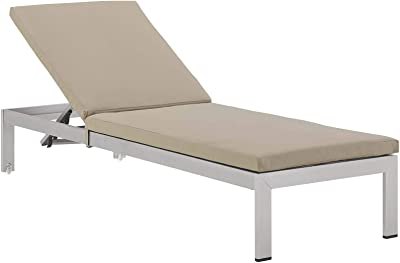 Modway EEI-4502-SLV-BEI Shore Outdoor Patio Aluminum Chaise with Cushions, Silver Beige